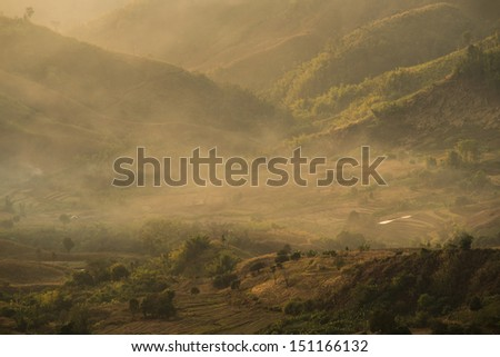 Fog movement over Doi chang, Thailand - stock photo