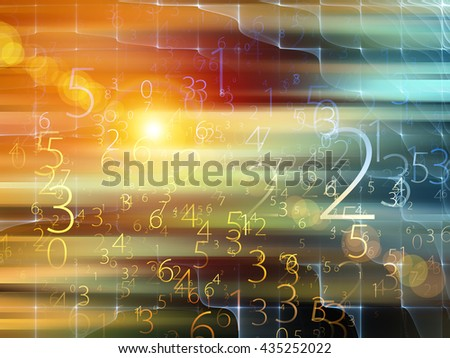 Fog of Numbers series. Interplay of Digits and lights on the subject of math, science, technology and education - stock photo