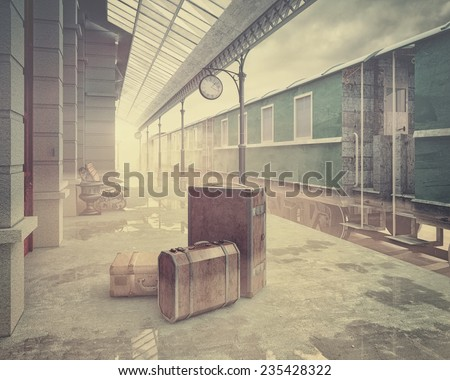 fog on the retro railway  train station .Vintage color style 3D concept - stock photo