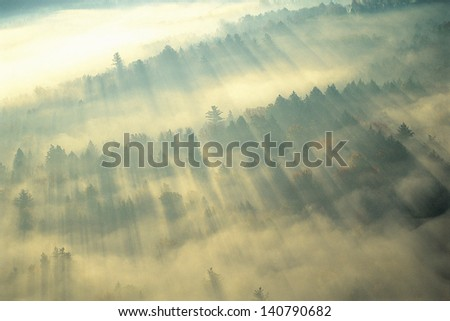 Fog Over Green Mountains of Vermont near Stowe - stock photo