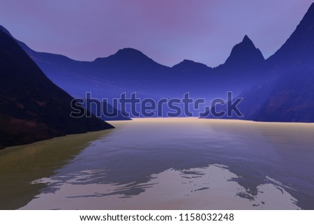 Fog over the lake, 3D rendering, an alpine landscape, mountains, reflection on water and pink clouds in the sky.