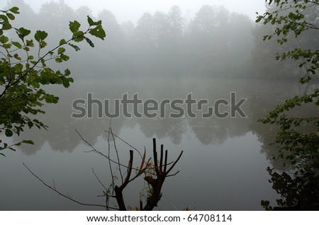 Fog over the pond - stock photo