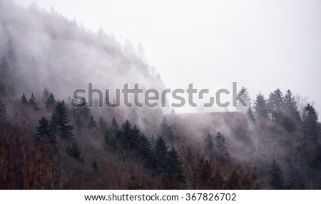 Fog rolls in at a peak on the Blue Ridge Parkway in North Carolina - stock photo