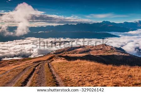 Foggy autumn morning in the Caucasus mountain. Upper Svaneti, Georgia, Europe. October 2015. - stock photo