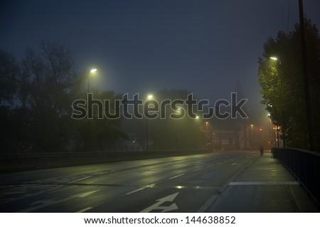foggy city - stock photo