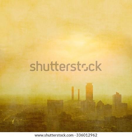 Foggy city skyline - stock photo