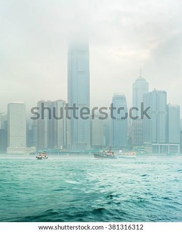 Foggy Hong Kong in the heavy rain - stock photo