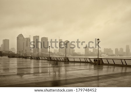 foggy landscape, filtered Images - stock photo
