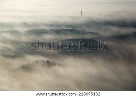 Foggy landscape from high poin of view - stock photo