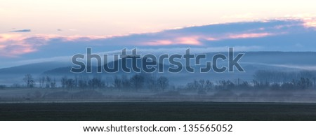 Foggy landscape from Hungary,panorama photo