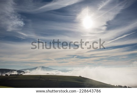 foggy landscape in the black forest, Germany  - stock photo