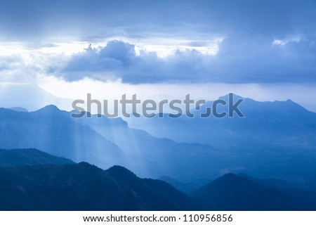 foggy landscape in the mountains, Western Ghats, India - stock photo