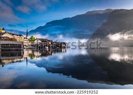 Foggy morning on the harbor in Hallstatt - stock photo