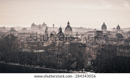 Foggy morning over the churches of Rome, Italy. Vintage background. - stock photo