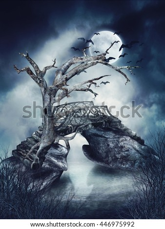 Foggy scenery with a dead tree, old bridge, and bats. 3D illustration. - stock photo