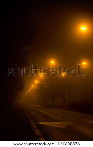foggy town - stock photo
