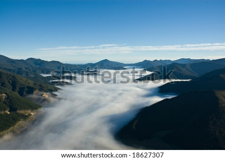 Foggy valley in Marlborough Sounds, South Island, New Zealand - stock photo