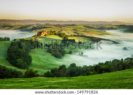 Foggy Valley in the morning, Tuscany