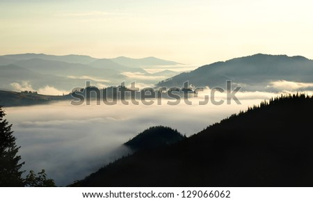 Foggy volley in  mountains. Carpathians - stock photo