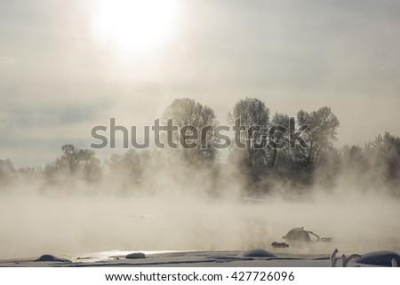foggy winter landscape frosty morning - stock photo