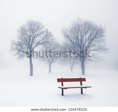 Foggy winter scene with leafless trees and red park bench - stock photo