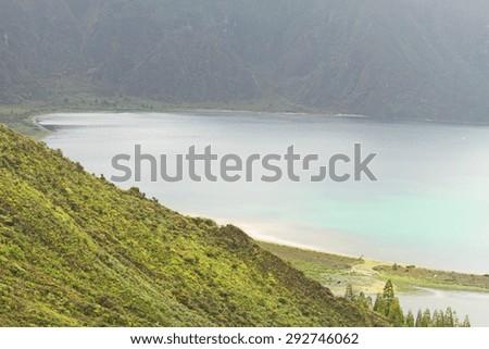 Fogo lagoon  Sao Miguel island Azores Portugal - stock photo