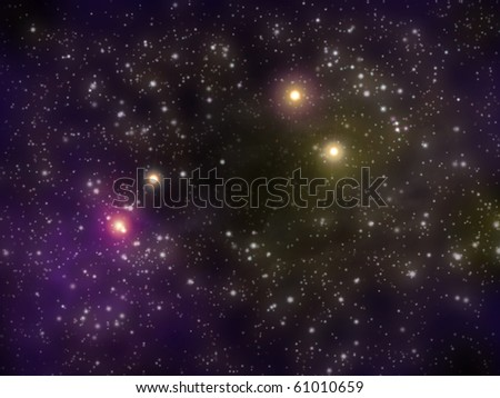 Fogs and stars in the Universe - stock photo