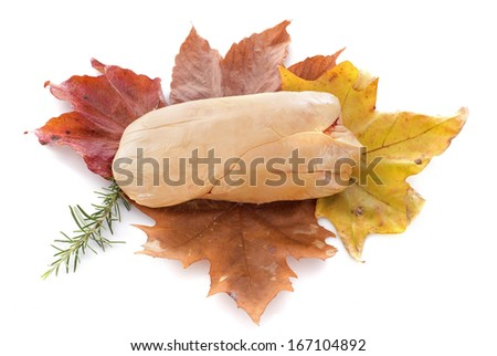 foie gras on leaf in front of white background - stock photo