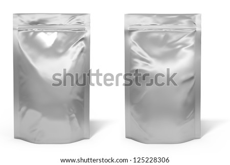 Foil bag package isolated on white background - stock photo