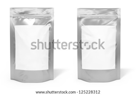 Foil bag package with blank space for label - stock photo
