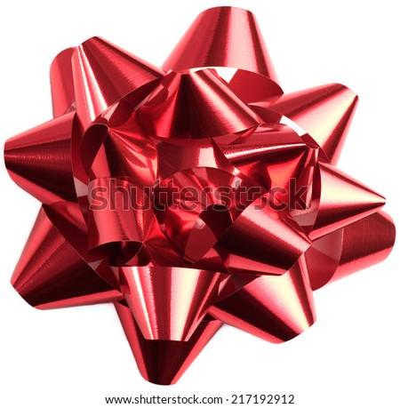 Foil bow isolated on white for Christmas and other special occasions.