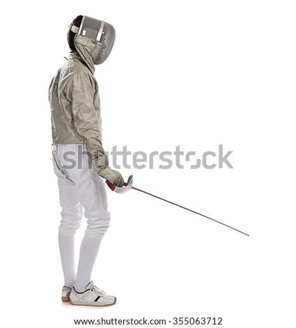 Foil Fencer Full Length - stock photo