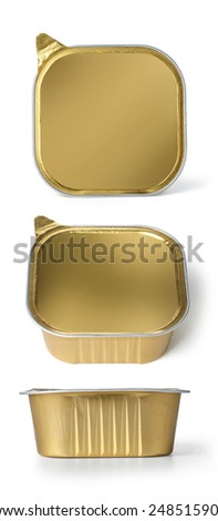 Foil Food Container set with Blank gold  Lid - stock photo