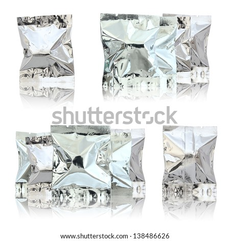 foil package bag isolated on white - stock photo
