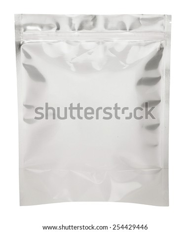 Foil package bag isolated on white with clipping path