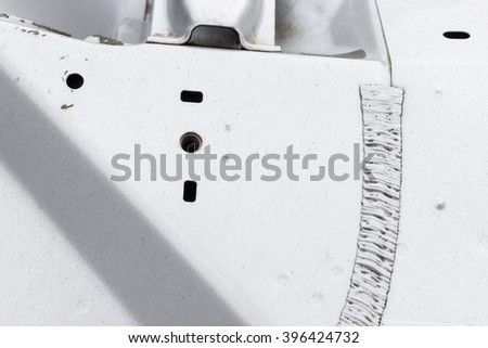 fold line of the car body - stock photo