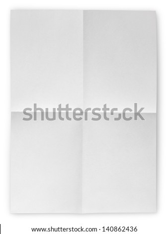 Folded Blank Sheet of Paper isolated on white with clipping path - stock photo