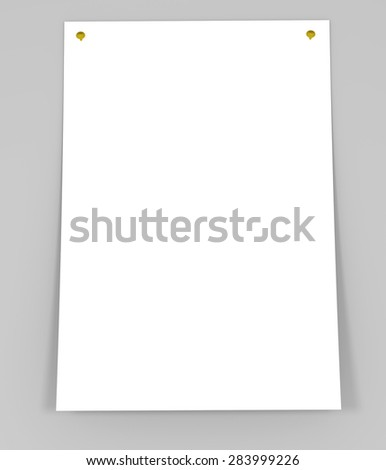 Folded blank sheet of paper. White background - stock photo