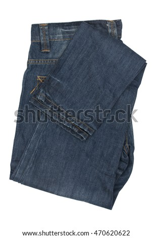 Folded blue jeans isolated on white background