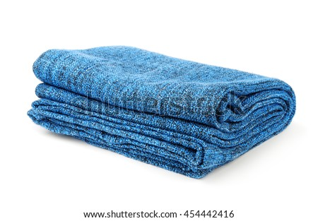 Folded blue warm blanket isolated on white