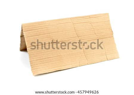 Folded cardboard with space for message isolated on white