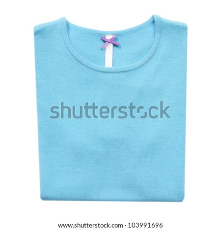 Folded cyan woman sweater on white isolated - stock photo