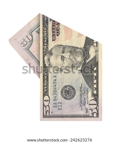 Folded fifty dollars bill isolated on white background - stock photo
