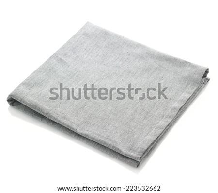 Folded grey cotton napkin isolated on white background - stock photo