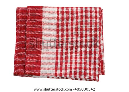 Folded kitchen napkin isolated on white background. Top view