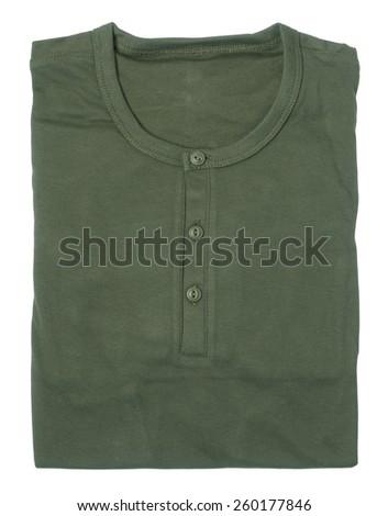 folded long sleeve t-shirt isolated on white - stock photo