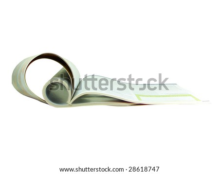Folded magazine isolated over white background - stock photo