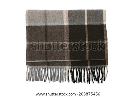 Folded mens scarf isolated on white background - stock photo
