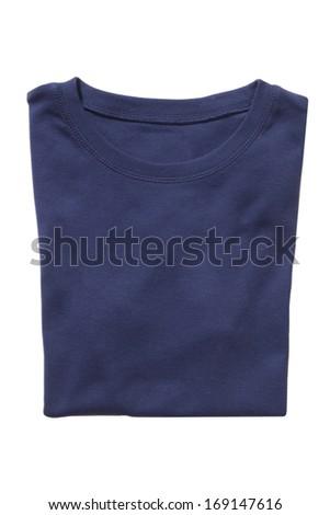 Folded navy t-shirt isolated on white - stock photo