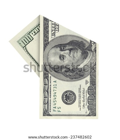 Folded one hundred dollar banknote isolated on white background - stock photo